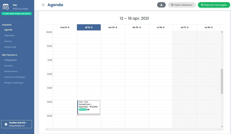 Plannen.nl, laar jouw klanten een afspraak inplannen.