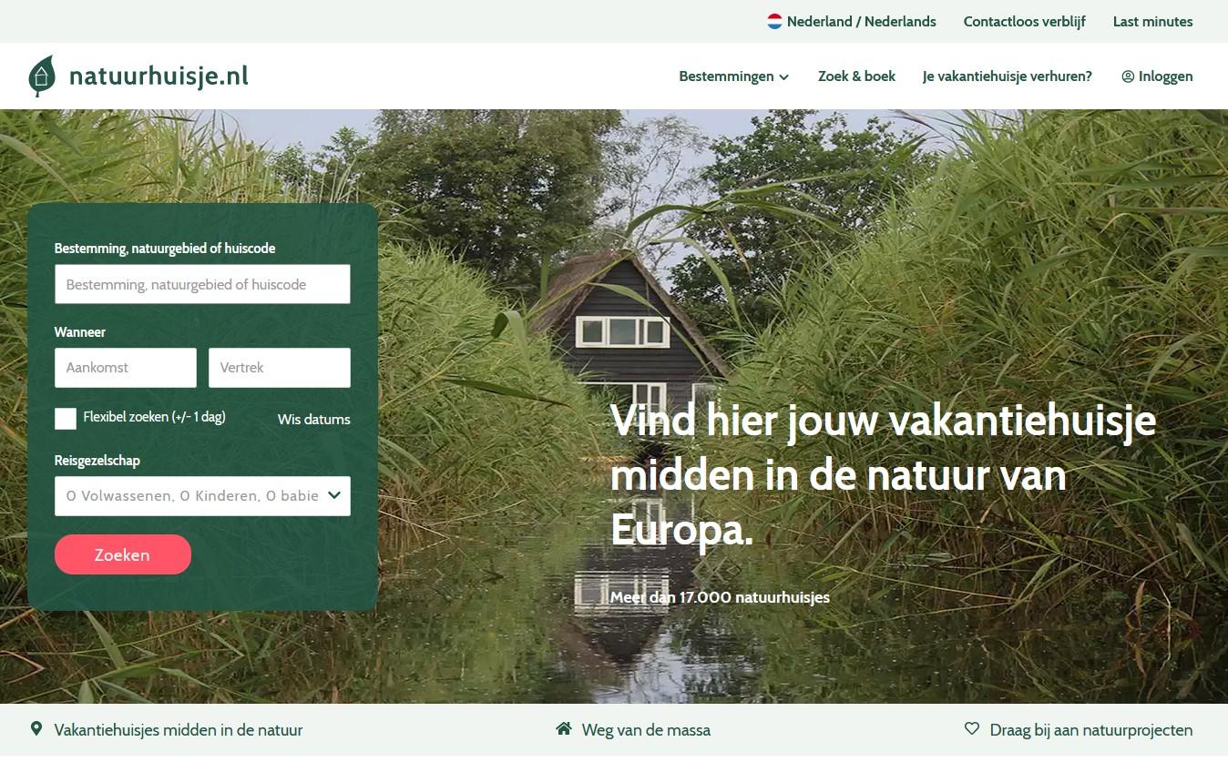Screenshot van Natuurhuisje.nl.
