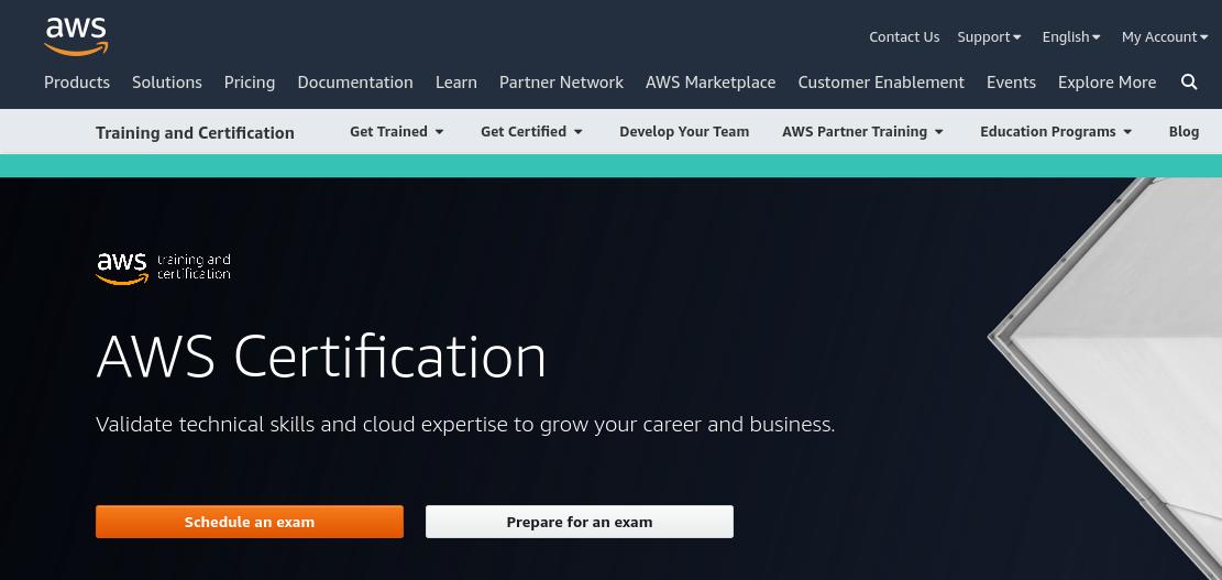 Screenshot Amazon AWS website voor AWS certification.