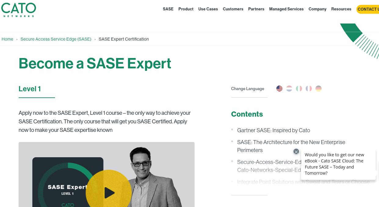 Screenshot website Cato, become a SASE Expert.
