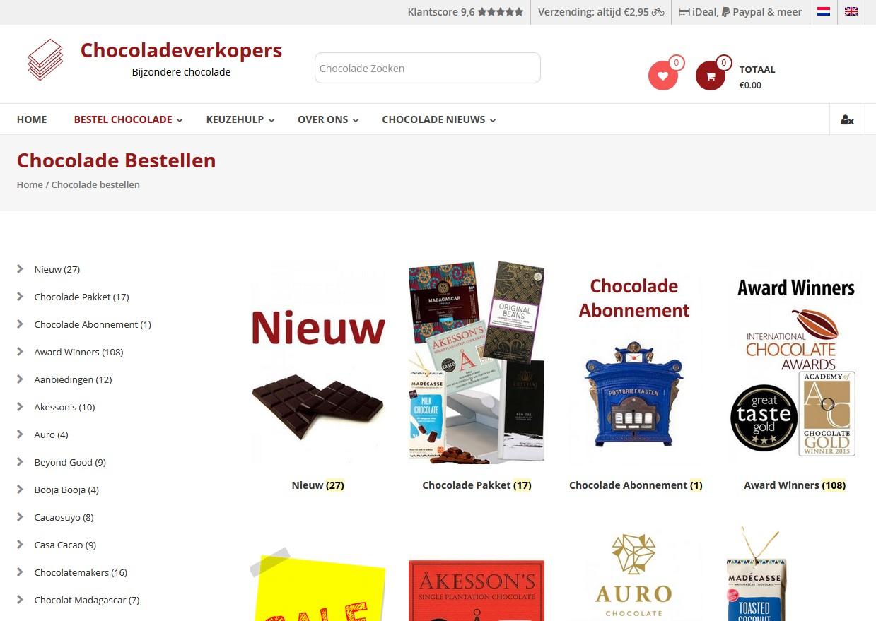 Screenshot van Chocoladeverkopers.nl