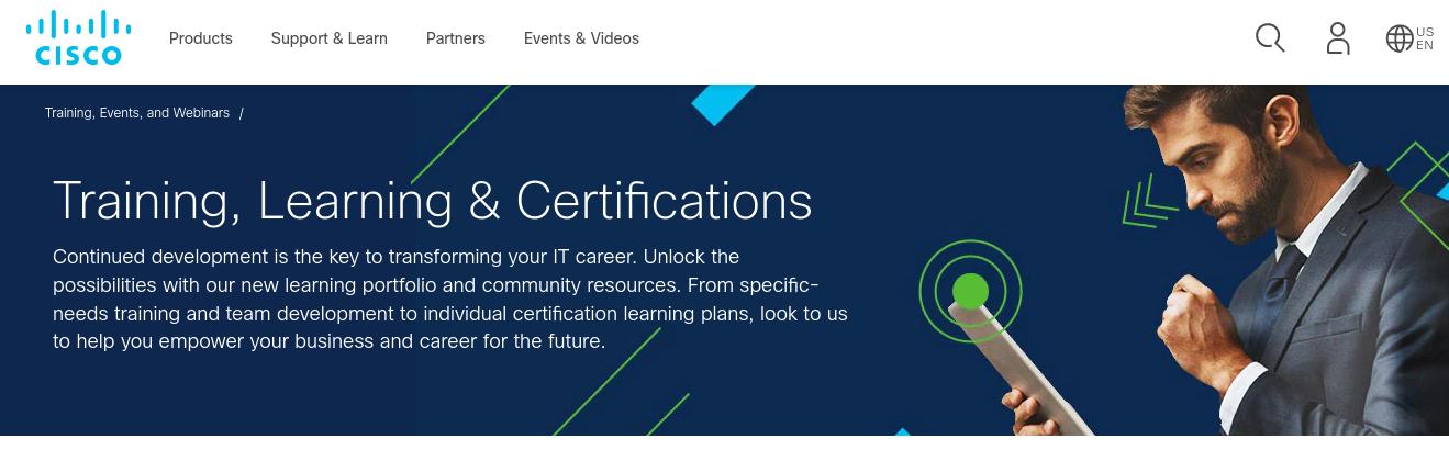 Screenshot website Cisco voor trainen, leren en certificaten.