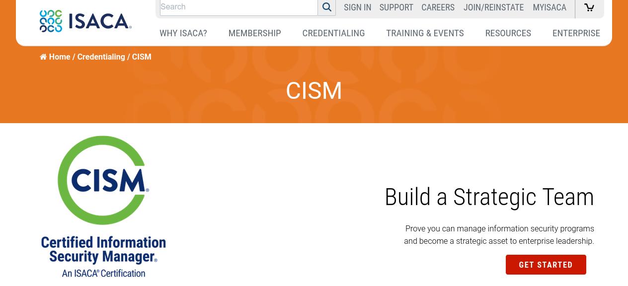 Screenshot van Isaca website voor certified information security manager.