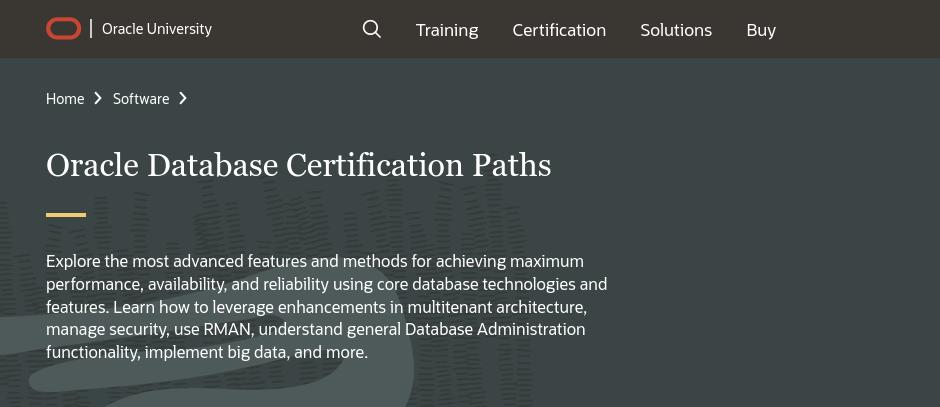 Screenshot Oracle website voor Oracle Database Certification Paths.